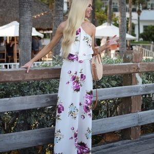 Halter Floral Can't Help Staring Maxi Dress
